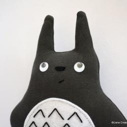 Totoro plushie. Grey handmade soft toy. Serious Totoro.